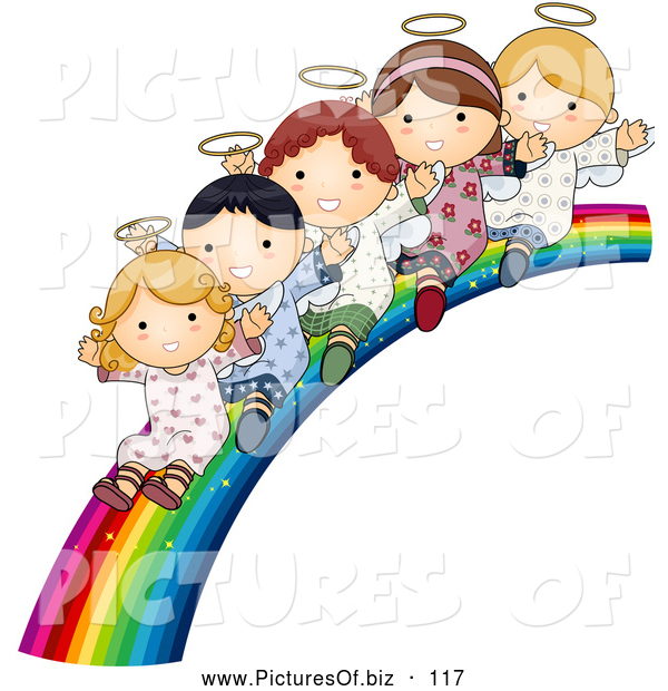 Vector Clipart of a Group of Cute Angels Waving and Riding down a Beautiful Rainbow Slide