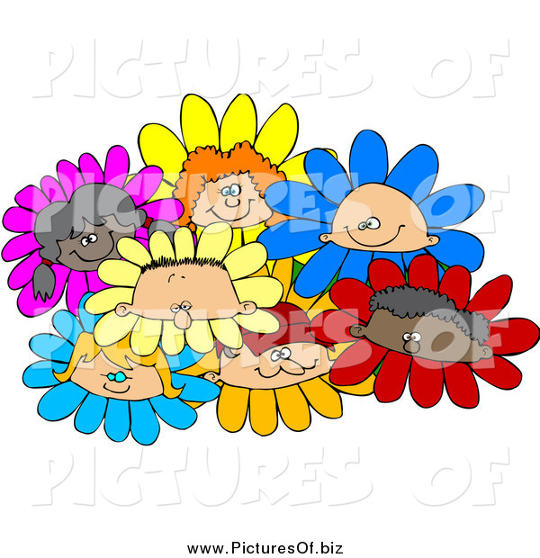 Vector Clipart of a Group of Diverse Children Flowers