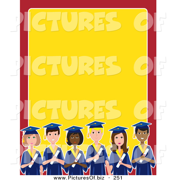 Vector Clipart of a Group of Diverse Male and Female Students on Graduation Day, on a Red and Yellow Stationery Background
