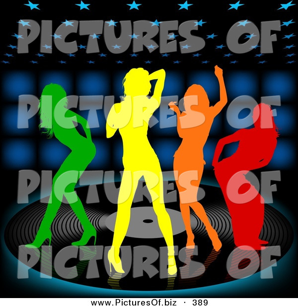 Vector Clipart of a Group of Four Colorful Silhouetted Women Dancing on a Large Vinyl Record over a Black Background with Blue Lights