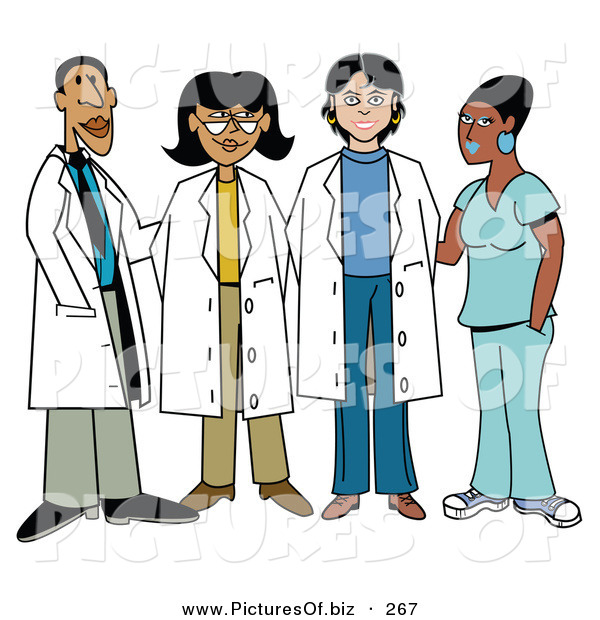 Vector Clipart of a Group of Four Diverse Female Doctors with One Male Doctor