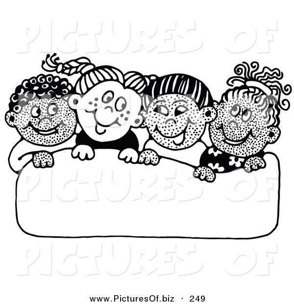 Vector Clipart of a Group of Four Diverse School Children Smiling at Each Other While Holding up a Blank Sign