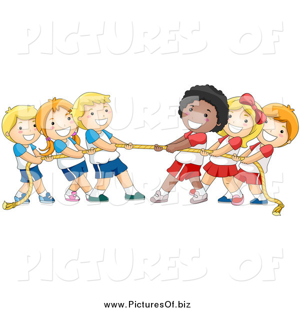 Vector Clipart of a Group of Happy Children Playing Tug of War with a Rope
