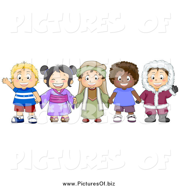 Vector Clipart of a Group of Happy Diverse Children from ...