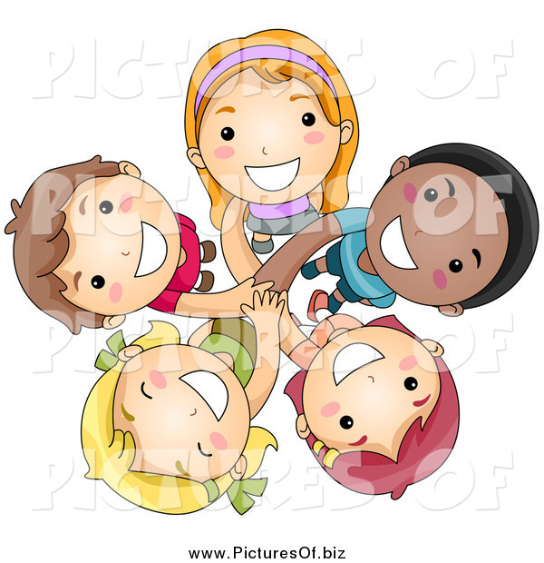 Vector Clipart of a Group of Happy Diverse Kids Looking up
