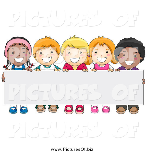 Vector Clipart of a Group of Happy Diverse School Kids Behind a Blank Sign