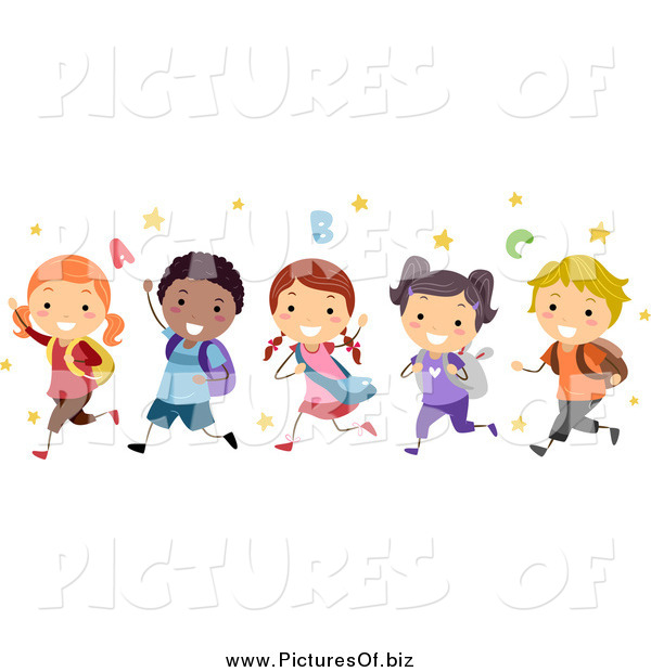 Vector Clipart of a Group of Happy Diverse Stick Students Running