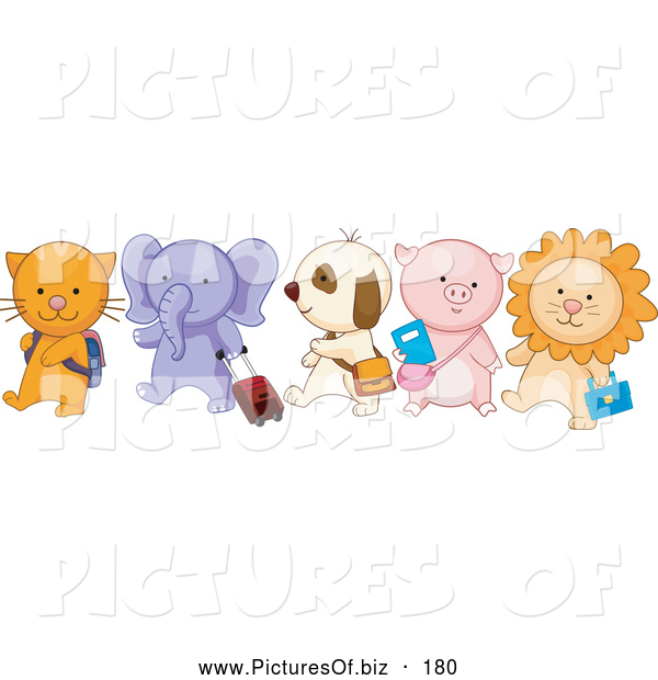 Vector Clipart of a Group of Happy School Animals Walking in Line