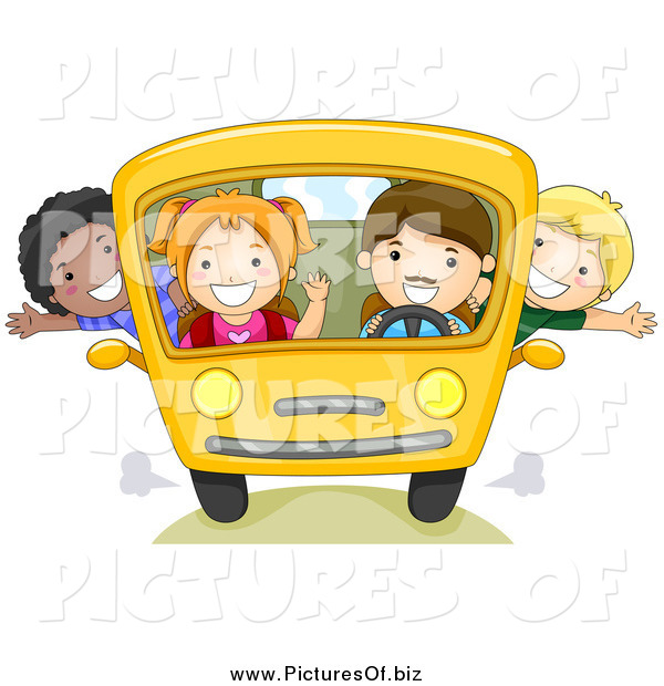 Vector Clipart of a Group of Happy School Kids on a Bus