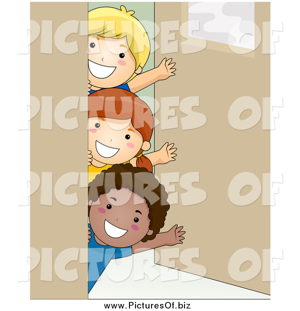 Vector Clipart of a Group of Happy School Kids Waving Around a Classroom Door