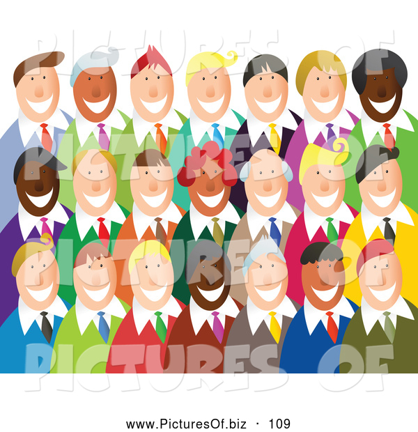 Vector Clipart of a Group of Happy Smiling Business Team over White