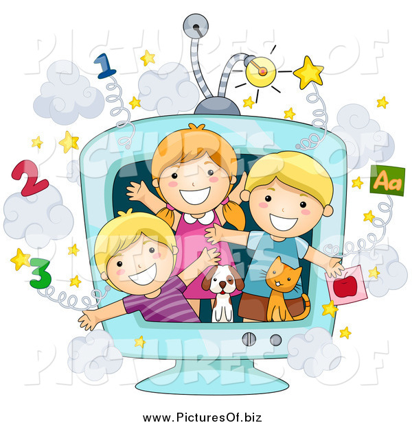 Vector Clipart of a Group of Happy White School Kids and Animals in an Educational TV