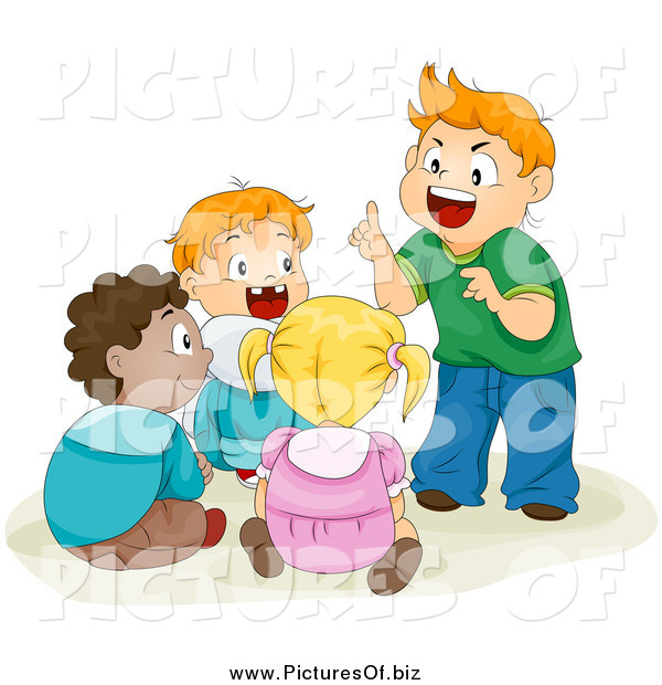 Vector Clipart of a Group of School Children Telling Stories