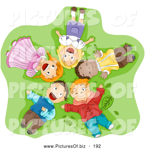 Vector Clipart of a Group of Smiling Happy Diverse Children Laying on Their Backs in Grass, Looking up