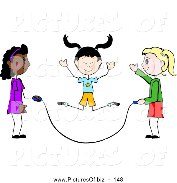 Vector Clipart of a Group of Three Diverse Stick Girls Jumping Rope