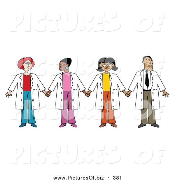 Vector Clipart of a Group of Three Ethnic Female Doctors with One Male Doctor