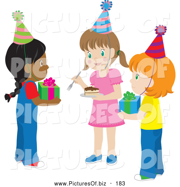 Vector Clipart of a Group of Three Girls Holding Presents and Cake at a Birthday Party