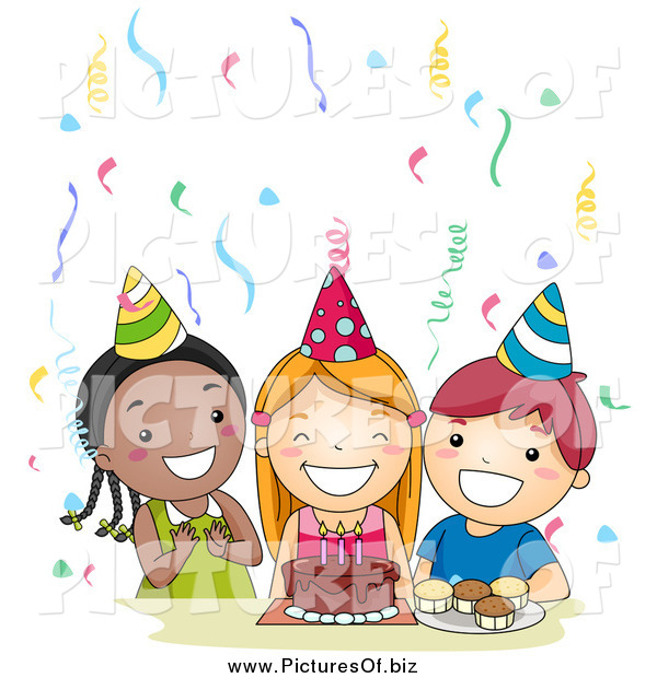 Vector Clipart of a Group of Three Happy Kids Singing Happy Birthday at a Party