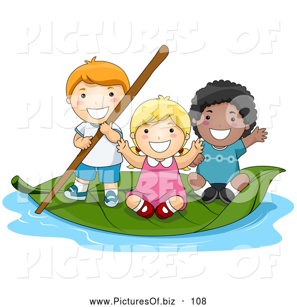Vector Clipart of a Group of Three Tiny Children on a Leaf Boat