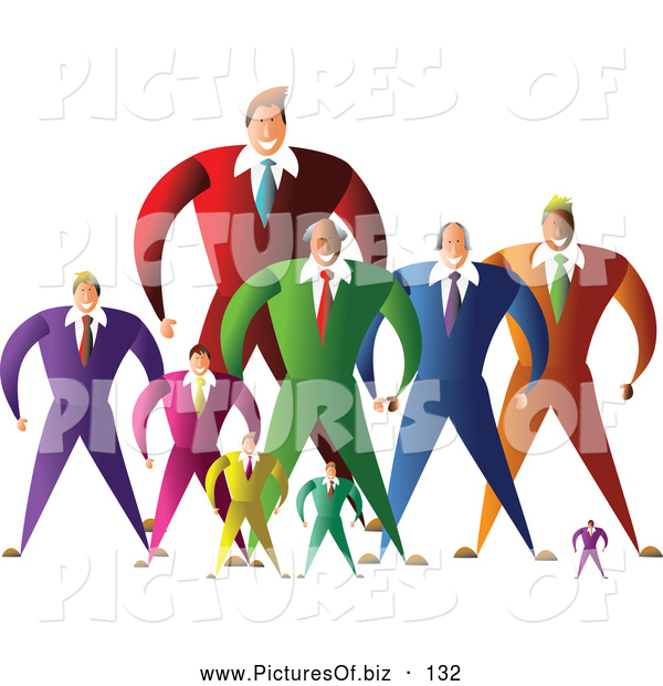 Vector Clipart of a Group or Team of Large and Small Businessmen