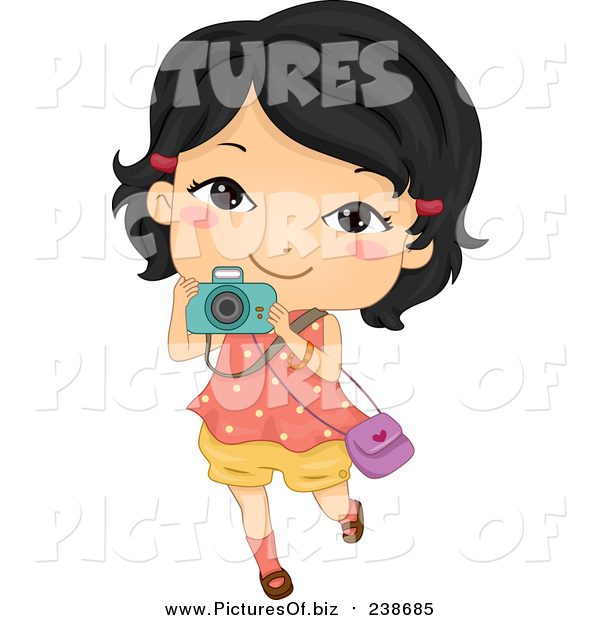 Vector Clipart of a Happy Asian Girl Taking Pictures with Her Camera