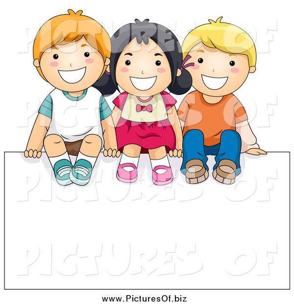 Vector Clipart of a Happy Diverse School Kids Sitting on a Blank Sign