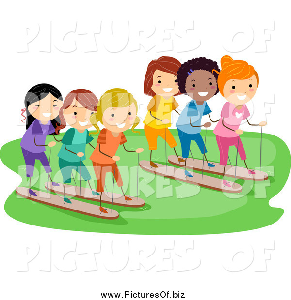 Vector Clipart of a Happy Diverse Stick Girls Racing