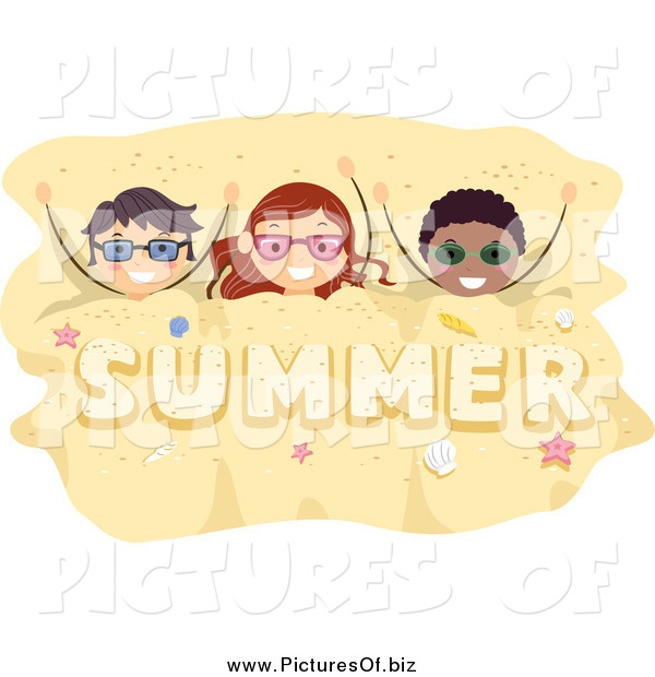 Vector Clipart of a Happy Kids Buried in Summer Sand
