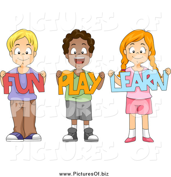 Vector Clipart Of A Happy School Children Holding Fun Play