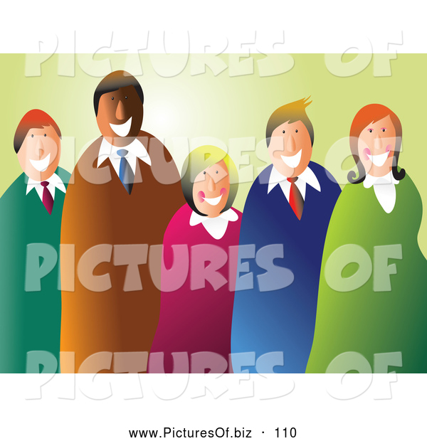 Vector Clipart of a Happy Smiling Business Team of Five over Pastel Green