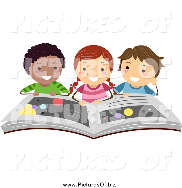 Vector Clipart of a Happy Students Reading a Book on the Planets