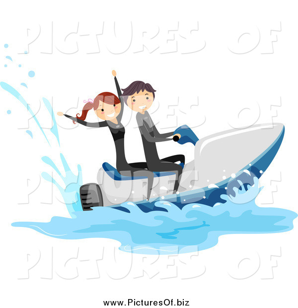 Vector Clipart of a Happy White Stick Couple on a Jetski