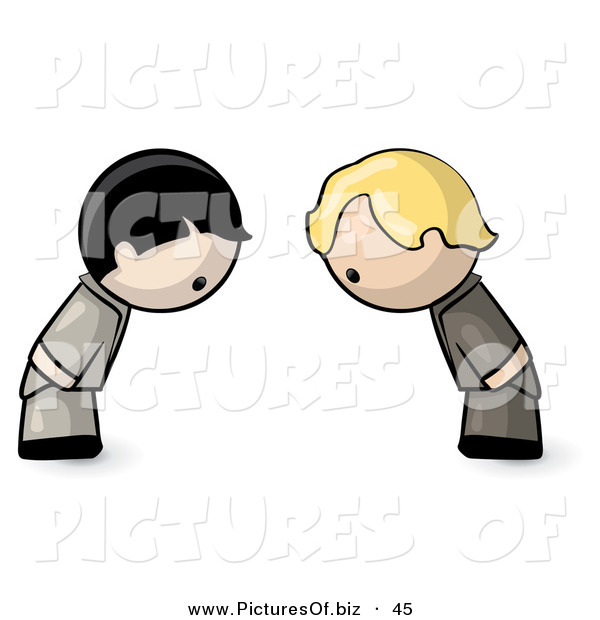 Vector Clipart of a Human Factor Karate Boys Bowing to Eachother