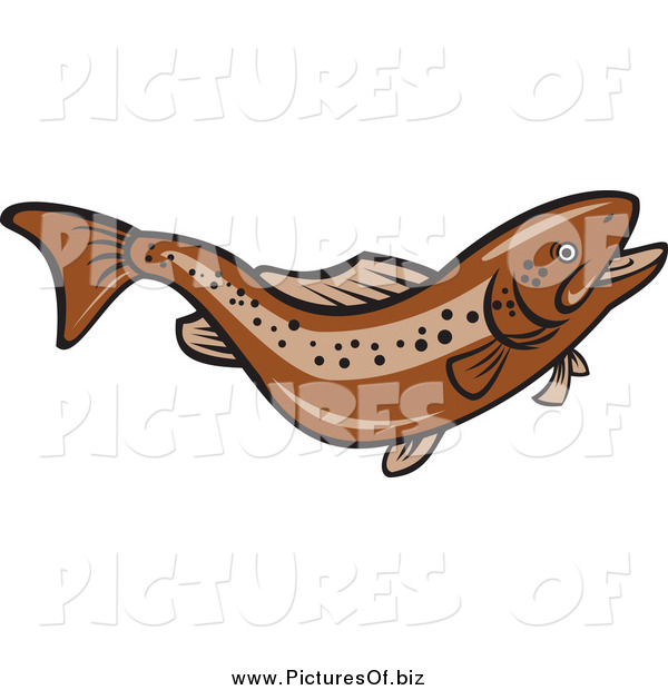 Vector Clipart of a Jumping Brown Trout Fish
