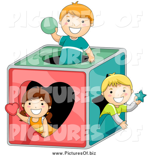 Vector Clipart of a Kids Playing in a Shape Box