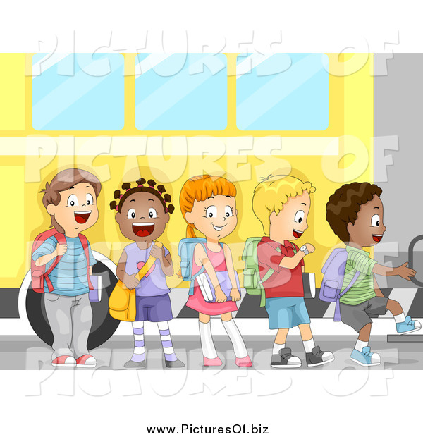 Vector Clipart of a Line of Excited School Children Boarding a Bus for a Field Trip or First Day of School