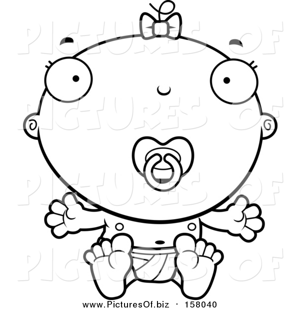 Vector Clipart of a Lineart Baby Infant Girl with a Pacifier