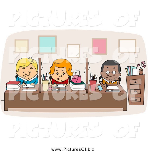Vector Clipart of a Multi Racial Faculty Workers at Desks