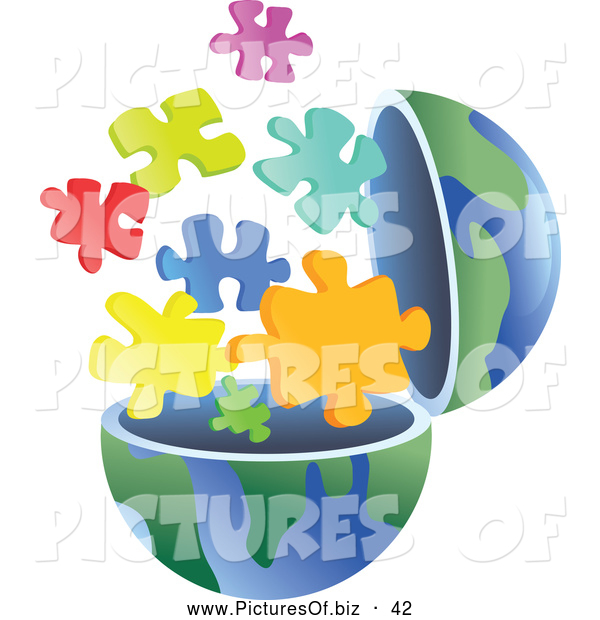 Vector Clipart of a Open Globe with Puzzle Pieces Exploding out
