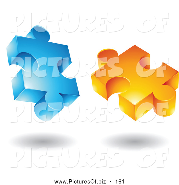 Vector Clipart of a Pair of Blue and Orange Jigsaw 3d Puzzle Pieces