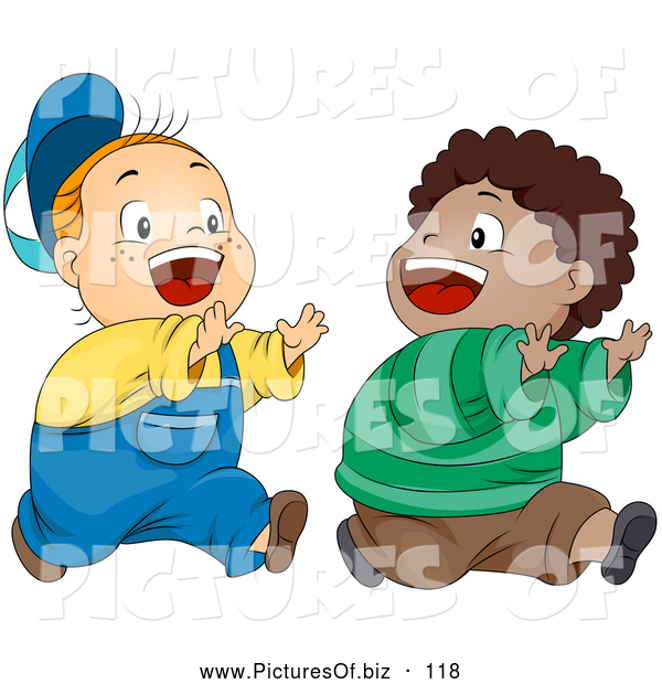 Vector Clipart of a Pair of Two Cute Boys Playing Chase