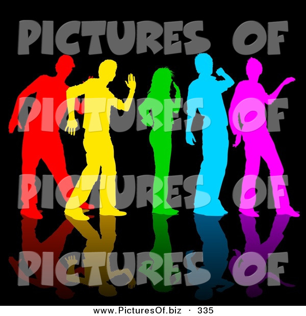 Vector Clipart of a Rainbow Colored Group of Dancers on Reflective Black
