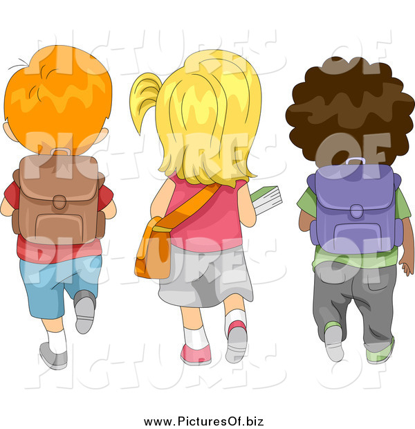 Vector Clipart of a Rear View of Cute Diverse School Children Walking