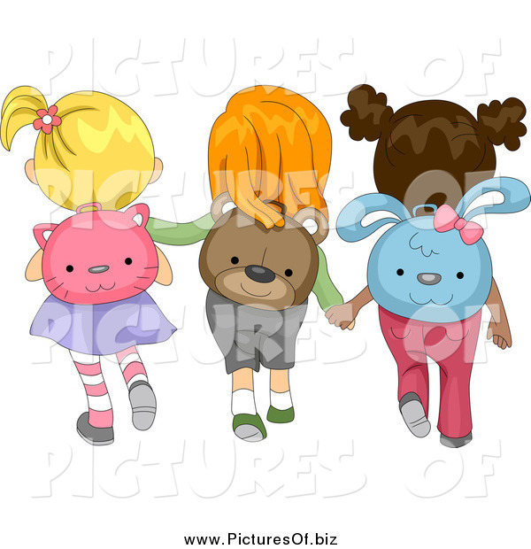 Vector Clipart of a Rear View of Diverse School Girls Wearing Animal Backpacks