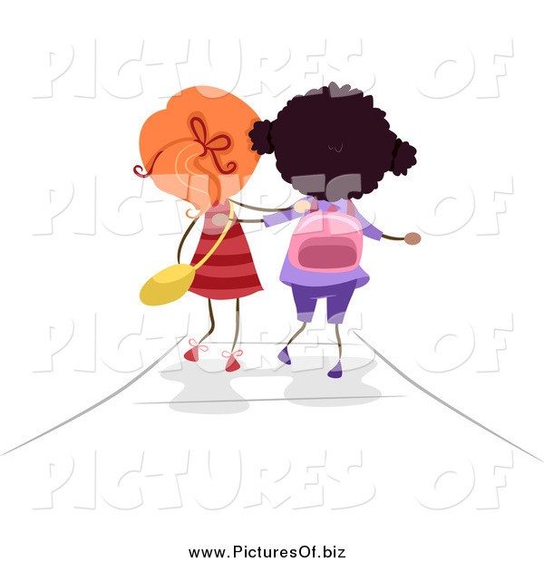 Vector Clipart of a Rear View of Two Stick Girls Walking to School