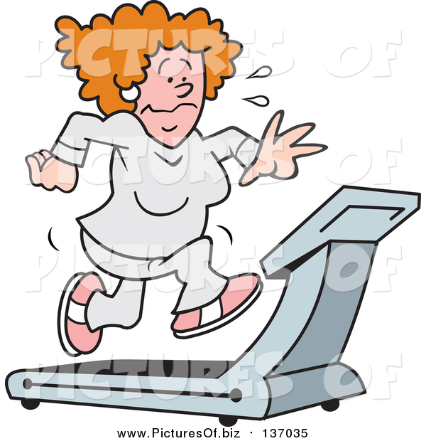 Vector Clipart of a Red Haired White Woman Sweating and Running on a Treadmill