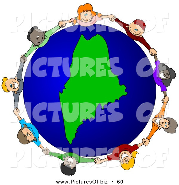 Vector Clipart of a Ring of Children Holding Hands Around a Maine Globe