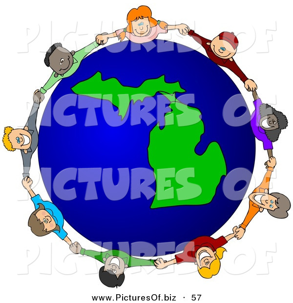 Vector Clipart of a Ring of Children Holding Hands Around a Michigan Globe