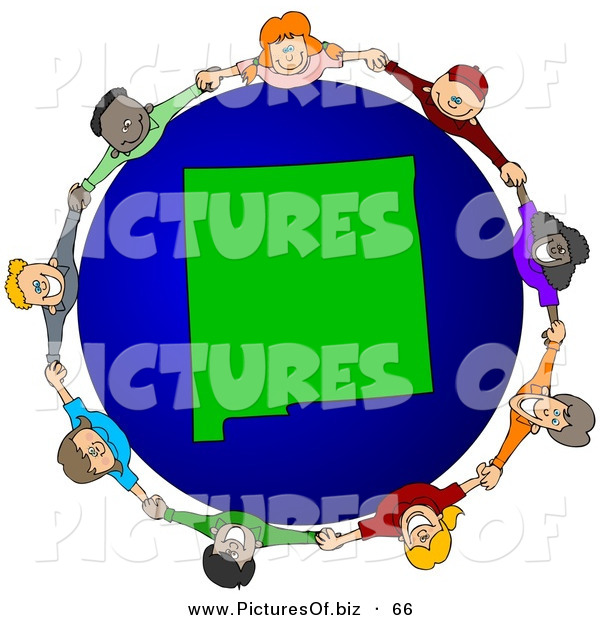 Vector Clipart of a Ring of Children Holding Hands Around a New Mexico Globe