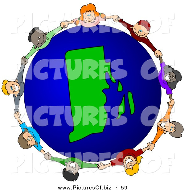 Vector Clipart of a Ring of Children Holding Hands Around a Rhode Island Globe
